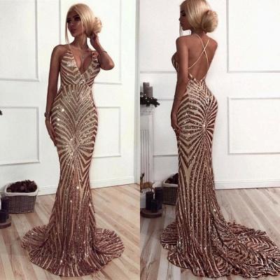 Elegant V-Neck Mermaid Prom Dress UK | Sequins Long Evening Dress UK_3