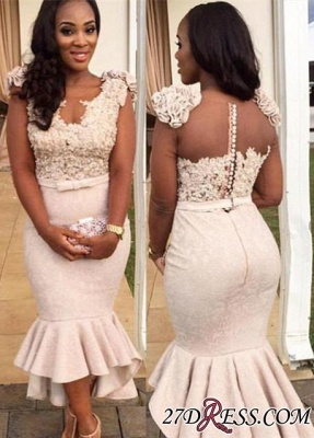 Mermaid Appliques Simple Sleevelss Buttons Hi-Lo Lace Prom Dress UK BA4670 BK0_2