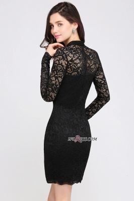Short Black Long-Sleeves Lace High-Neck Party Dress UK_3