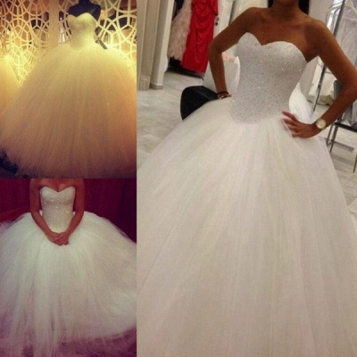 Elegant Sweetheart Sleeveless Tulle Wedding Dress Beadss Ball Gown Bridal Gowns_5
