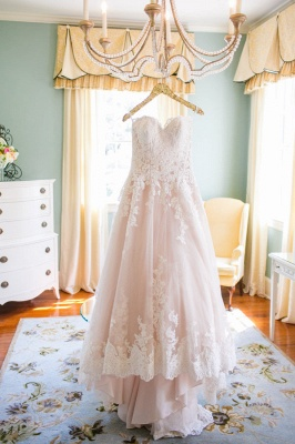 Newest Lace Tulle Princess Wedding Dress Sweetheart Sweep Train JT017_1