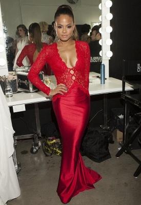 Newest Red Lace Mermaid Prom Dress UK Long Sleeve V-neck_1