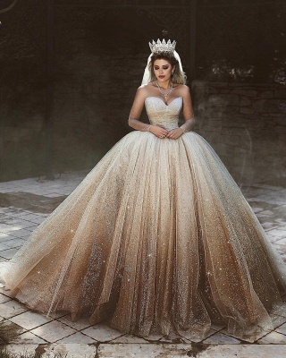 New Arrival Tulle Floor-Length Wedding Dresses UK Scoop Neckline Long Sleeves Bridal Dresses with Sequins_3