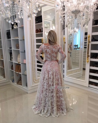 Sleeves Prom Shoulder Long A-Line Pink Newest Lace Dress UKes UK Off Pearls Evening Dress UKes UK_2