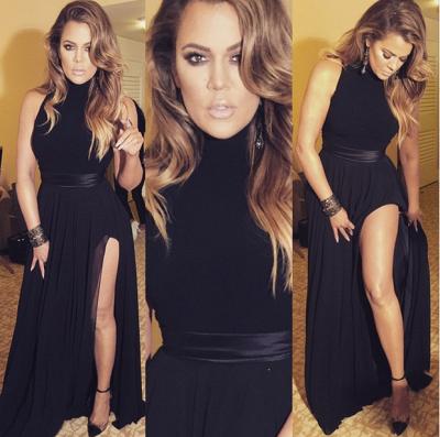 Elegant black High-Neck Sleeveless Prom Dress UKes UK Front Split Floor Length BA3110_3