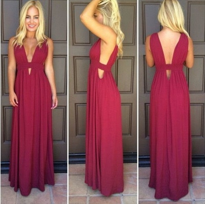 Beautiful Sleeveless Burgundy Prom Dress UKes UK Long Chiffon_3