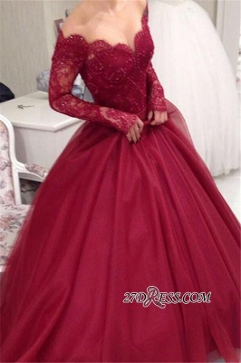 Ball-Gown Princess Lace V-neck Long-Sleeves Tulle Off-the-shoulder Sexy Evening Dress UKes UK jj0074_3