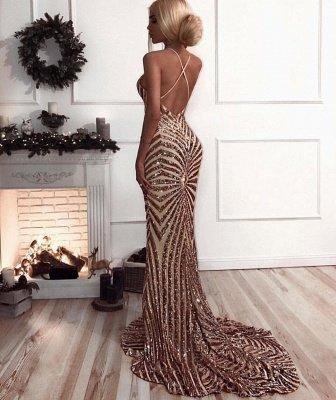 Elegant V-Neck Mermaid Prom Dress UK   Sequins Long Evening Dress UK_4