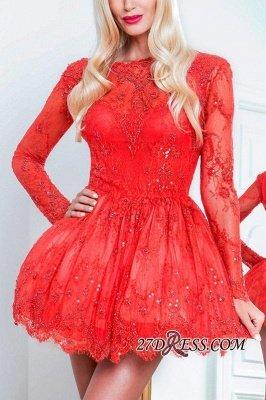 Red Short Long-Sleeve Sexy Lace Homecoming Dress UKes UK BA8057_2