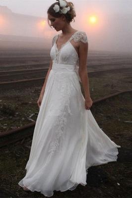 Elegant Summer Beach Wedding Dresses UK Cap Sleeve Lace Long  Bridal Gowns_1