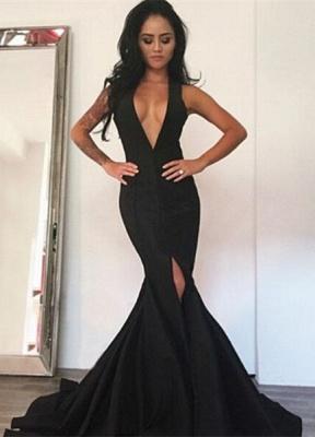Elegant Black Deep V-Neck Prom Dress UK Mermaid Front Split_1
