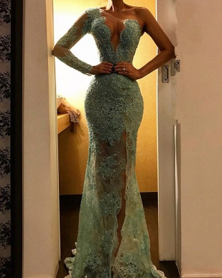 Beautiful One Shoulder Mermaid Evening Dress UK | Lace Long Prom Party Dress UK_1