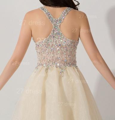 Elegant V-neck Sleeveless Short Homecoming Dress UK With Crystals_3