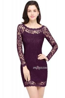 Sheath Long-Sleeves Lace Navy-Blue Sexy Cocktail Dress UK_3