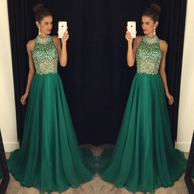 Luxury Crystals Halter Sleeveless Prom Dress UK A-line Sweep Train AP0_1