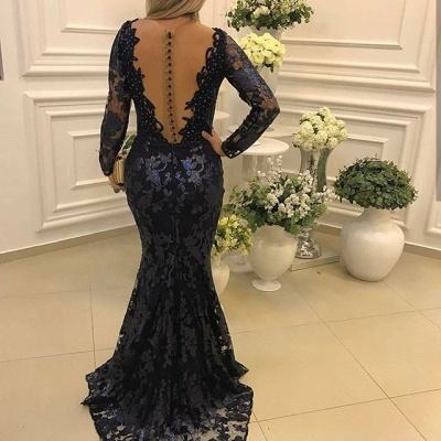 Sexy Long Sleeve Lace Evening Dress UK Mermaid Beadings On Sale BA7446_3