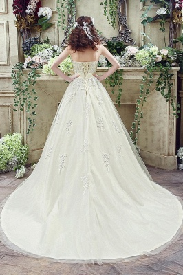 Newest Sweetheart Lace Appliques Wedding Dress Bowknot Sweep Train_7