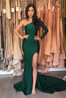 Sweep-Train Mermaid Front-Split One-Shoulder Elegant Prom Dress UK BA6251_1