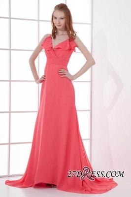 Open-Back Elegant Long-Train Sleeveless Chiffon Straps V-neck Bridesmaid Dress UKes UK_2
