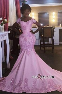 Pink Newest Appliques V-Neck Mermaid Short-Sleeves Prom Dress UK BK0 BA8050_2