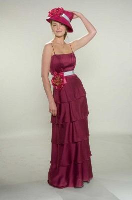 Gorgeous Spaghetti Straps Fuchsia Bridesmaid Dress UKes UK Layered Flowers Chiffon Wedding Party Gowns_1