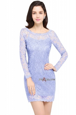 Sheath Long-Sleeves Lace Navy-Blue Sexy Cocktail Dress UK_2