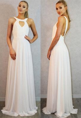 Sexy White Sleeveless Long Prom Dress UK Chiffon Party Gown_1