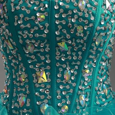 Elegant Ruffles Crystals Hi-Lo Prom Dress UK Sweep Train Sweetheart_5