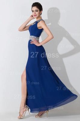 Modern Front Split Beadings Evening Dress UK Royal Blue_2