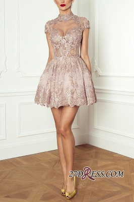Occasion Lace Sexy Short Special Pink Long-Sleeve High-Neck Homecoming Dress UKes UK BA7055_5