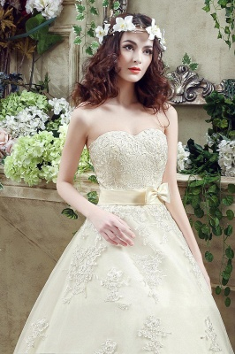 Newest Sweetheart Lace Appliques Wedding Dress Bowknot Sweep Train_4