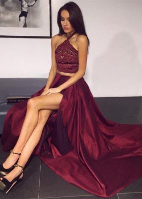 Elegant Burgundy Two Piece Halter Front Split Prom Dress UK_1