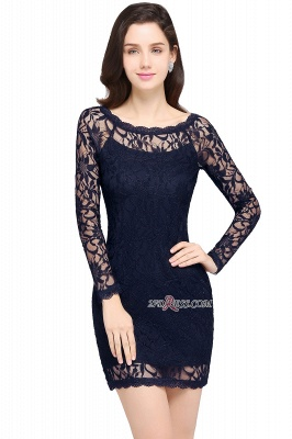 Sheath Long-Sleeves Lace Navy-Blue Sexy Cocktail Dress UK_5