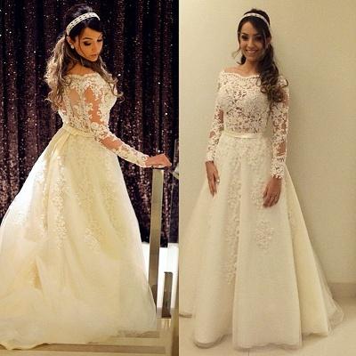 Elegant Lace Appliques A-line Wedding Dress Zipper Button Back_3