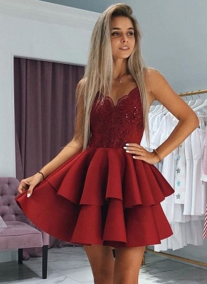 A-Line Layers Homecoming Dress UKes UK | Spaghetti Straps Lace Cocktail Dress UKes UK with Appliques_1