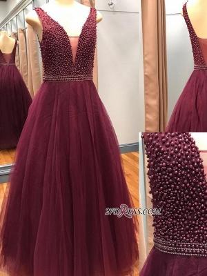 Luxury V-Neck Sleeveless Prom Dress UKes UK With Beadings Online_3