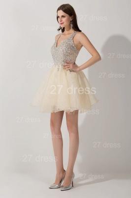 Elegant V-neck Sleeveless Short Homecoming Dress UK With Crystals_4