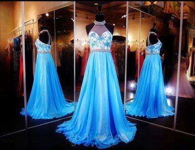 Elegant Halter A-line Evening Dress UK Lace Appliques Zopper_5
