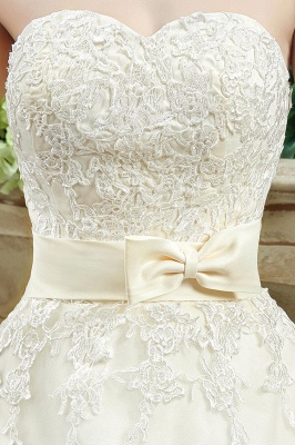 Newest Sweetheart Lace Appliques Wedding Dress Bowknot Sweep Train_5