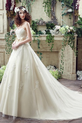 Newest Sweetheart Lace Appliques Wedding Dress Bowknot Sweep Train_3