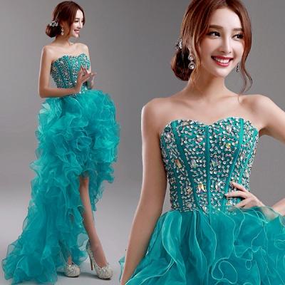 Elegant Ruffles Crystals Hi-Lo Prom Dress UK Sweep Train Sweetheart_3