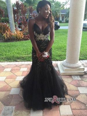 Mermaid Tulle Spaghetti-Straps Crystal Appliques Black prom Dress UK BK0_3
