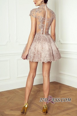Occasion Lace Sexy Short Special Pink Long-Sleeve High-Neck Homecoming Dress UKes UK BA7055_3
