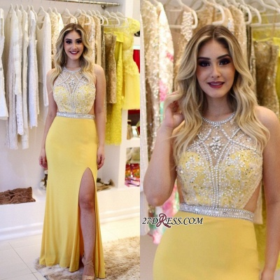 Yellow Sheath Silt-Side Jewel Beading Sleeveless Brilliant Prom Dreses_2