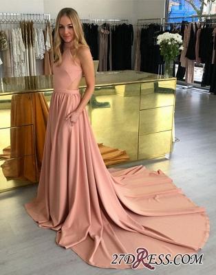 Simple Sleeveless Pink Halter Sweep-trian A-line Evening Dress UK_4