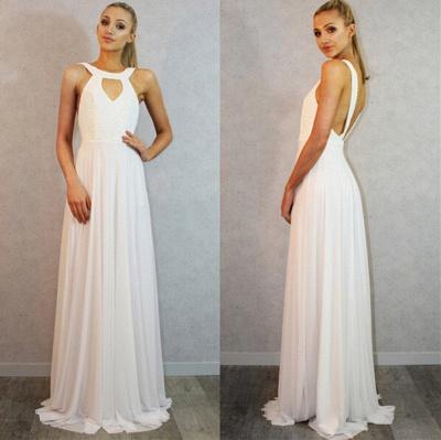 Sexy White Sleeveless Long Prom Dress UK Chiffon Party Gown_3