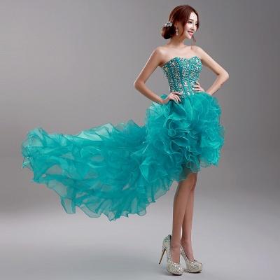 Elegant Ruffles Crystals Hi-Lo Prom Dress UK Sweep Train Sweetheart_4