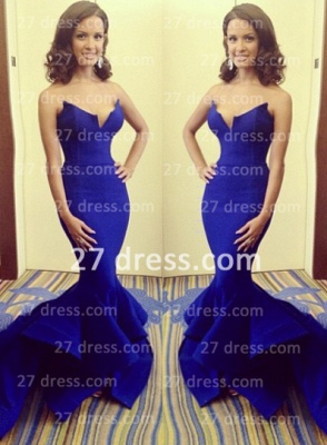 Stylish Sweetheart Mermaid Evening Dress UK Royal Blue Satin Brush Train Formal Evening Gowns_3