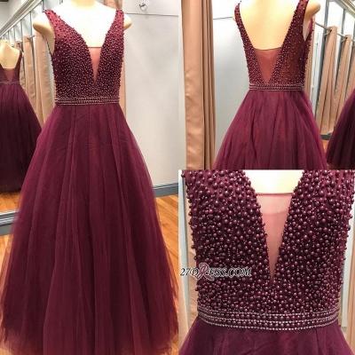 Luxury V-Neck Sleeveless Prom Dress UKes UK With Beadings Online_2