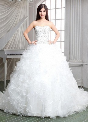 Newest White Ruffles Beadss Wedding Dress Sweetheart Sleeveless_1